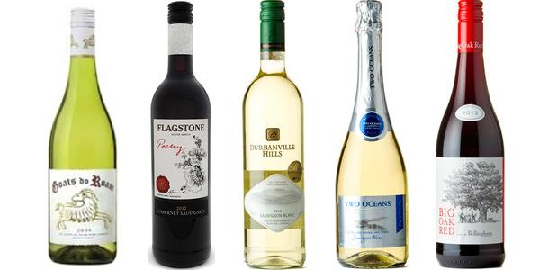From left to right: Goats Do Roam White 2013, Flagstone Poetry Cabernet Sauvignon 2012, Durbanville Hills Sauvignon Blanc 2014, Two Oceans Sauvignon Blanc Extra Dry Sparkling Wine 2013, Bellingham Big Oak Red 2013