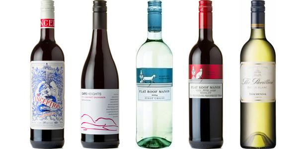 From left to right: Cape Heritage Inception Deep Layered Red 2012, Cape Heights Cabernet Sauvignon 2013, Flat Roof Manor Pinot Grigio 2014, Flat Roof Manor Merlot 2013, Boschendal The Pavillion Chenin Blanc 2014