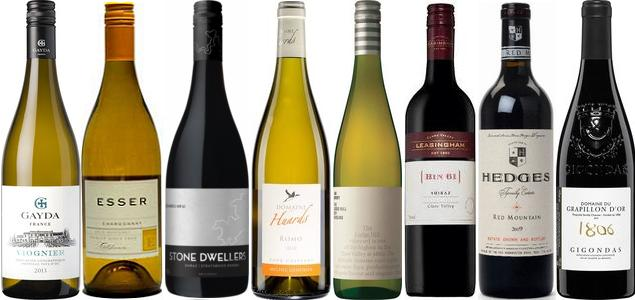 From left to right: Gayda Viognier 2013, Esser Chardonnay 2012, Fowles Stone Dwellers Shiraz 2012, Domaine Des Huards Romo Cour Cheverny 2010, Jim Barry The Lodge Hill Dry Riesling 2012, Leasingham Winemakers Selection Bin 61 Shiraz 2012, Hedges Family Estate Three Vineyards Red 2011 and Domaine Du Grapillon D'or Gigondas 2012