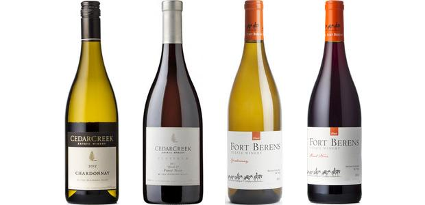 CedarCreek Chardonnay 2013 and Platinum Block 4 Pinot Noir 2012, Fort Berens Chardonnay 2013 and Pinot Noir 2012