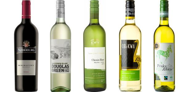 From left to right: Frisky Zebras From left to right: Nederburg Winemaster's Reserve Shiraz 2013, Douglas Green Sauvignon Blanc 2014, K W V Contemporary Collection Chenin Blanc 2014, Obikwa Sauvignon Blanc 2014, Frisky Zebras Sensuous Sauvignon Blanc Sauvignon Blanc