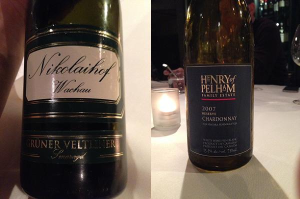 Nikolaihof Im Weingebirge Grüner Veltliner Smaragd 2007 and Henry of Pelham Reserve Chardonnay 2007