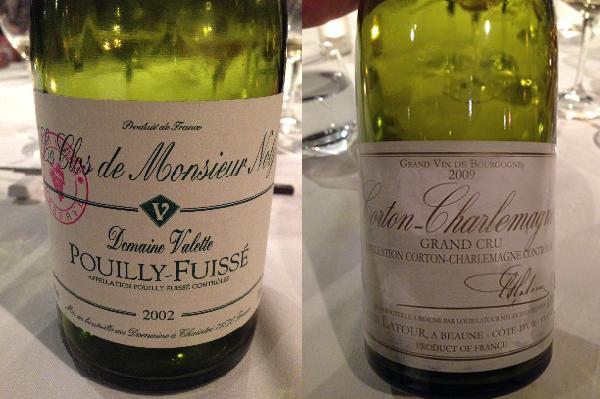 Domaine Valette Pouilly-Fuissé 'Clos de Monsieur Noly' 2002 and Louis Latour Corton-Charlemagne Grand Cru 2009