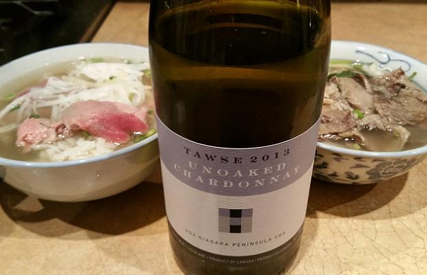 Tawse Unoaked Chardonnay 2013 with Pho Cuu Long Mien Tay