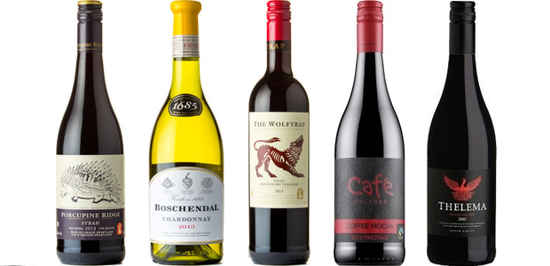 From left to right: Porcupine Ridge Syrah 2013, Boschendal 1685 Chardonnay 2013, The Wolftrap Syrah Mourvedre Viognier 2013, Café Culture Coffee Mocha Pinotage 2014, Thelema Mountain Red 2012