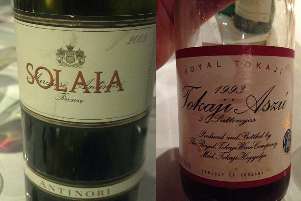 Marchesi Antinori Solaia Toscana IGT 2003 and Royal Tokaji Aszú 5 Puttonyos 1993