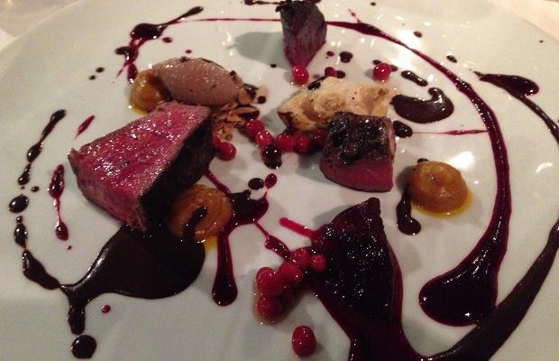 Venison loin, heart, mushroom, beet, pig's blood chocolate sauce