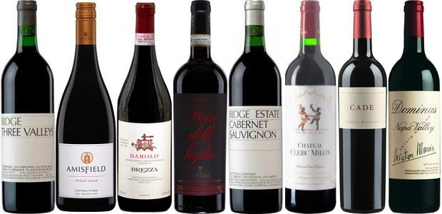 From left to right: Ridge Three Valleys 2012, Amisfield Pinot Noir 2011, Brezza Barolo 2010, Antinori Pian Delle Vigne Brunello Di Montalcino 2009, Ridge Estate Cabernet Sauvignon 2011, Château Clerc Milon 2011, Cade Cabernet Sauvignon 2011 and Dominus 2011
