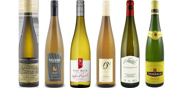From left to right: Dr. Hermann Erdener Treppchen Riesling Kabinett 2010, Fielding Estate Riesling 2014, Flat Rock Cellars Nadja's Vineyard Riesling 2013, 13th Street June's Vineyard Riesling 2013, Vineland Estates Elevation St. Urban Vineyard Riesling 2012 and Trimbach Riesling 2012