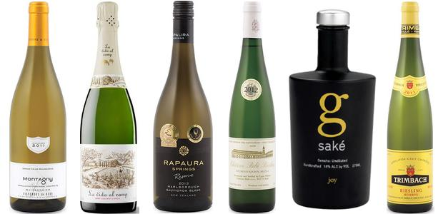 From left to right: Vignerons De Buxy Buissonnier Montagny 2011, La Vida Al Camp Cava Brut, Château Belá Riesling 2012, Rapaura Springs Reserve Sauvignon Blanc 2013, Momokawa G Joy Junmai Ginjo Genshu and Trimbach Réserve Riesling 2011