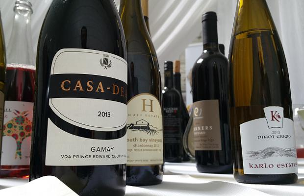 Casa Dea Gamay 2013, Huff Estates Chardonnay South Bay Vineyards 2012 and Karlo Estates Pinot Grigio 2013