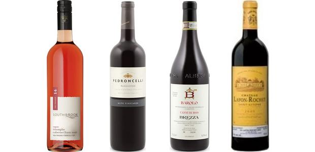 From left to right: Southbrook Vineyards Triomphe Cabernet Franc Rosé 2014, Pedroncelli Alto Vineyards Sangiovese 2012, Brezza Cannubi Barolo 2010 and Château Lafon Rochet 2004