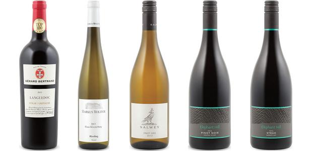 From left to right: Gérard Bertrand Languedoc Syrah/Grenache 2011, Markus Molitor Haus Klosterberg Riesling 2013, Salwey Pinot Gris 2013, Elephant Hill Pinot Noir 2013 and Elephant Hill Syrah 2012