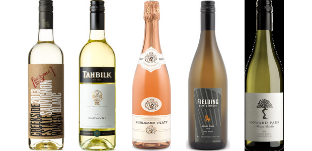 From left to right: Creekside Backyard Block Sauvignon Blanc 2013, Tahbilk Marsanne 2013, Kuhlmann Platz Rosé Crémant D'alsace, Méthode Traditionnelle, Fielding Pinot Gris 2014 and Howard Park Flint Rock Chardonnay 2012