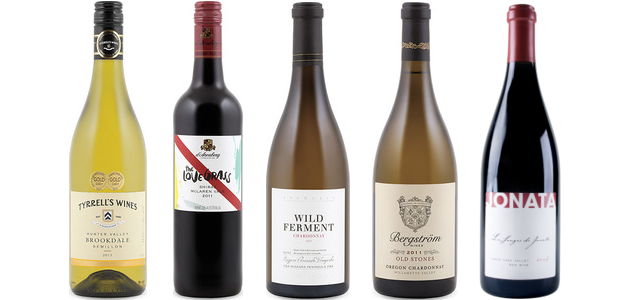 From left to right: Tyrrell's Brookdale Sémillon 2013, D'arenberg The Love Grass Shiraz 2011, Hillebrand Showcase Series Wild Ferment Chardonnay 2011, Bergstrom Old Stones Chardonnay 2011 and Jonata La Sangre De Jonata Syrah 2008