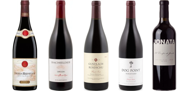 From left to right: E. Guigal Crozes Hermitage 2011, Bachelder Wines Pinot Noir Oregon 2012, Gundlach Bundschu Estate Pinot Noir 2012, Dog Point Pinot Noir 2012 and Jonata Tierra 2008