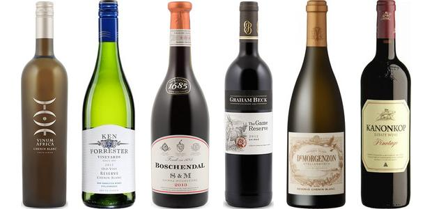 From left to right: Vinum Africa Chenin Blanc 2012, Ken Forrester Reserve Chenin Blanc 2013, De Morgenzon Reserve Chenin Blanc 2011, Boschendal 1685 Shiraz/Mourvèdre 2013, Graham Beck The Game Reserve Shiraz 2012 and Kanonkop Pinotage 2012