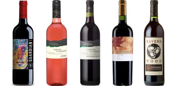 From left to right: Guardian Reserva Red 2012, Château Des Charmes Cuvée D'andrée Rosé Estate Bottled 2014, Château Des Charmes Cabernet Sauvignon Estate Bottled 2012, Bodegas Castaño Solanera Viñas Viejas 2012 and Ravenswood Vintners Blend Zinfandel 2013