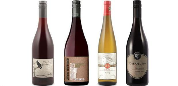 From left to right: Raven's Roost Pinot Noir 2013, Creekside Estate Winery Pinot Noir Queenston Road Vineyard 2013, Hidden Bench Estate Riesling 2013 and Rosehall Run Hungry Point Pinot Noir 2013