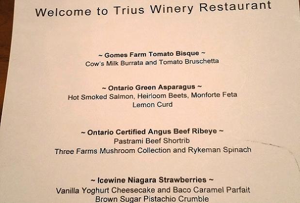 Dinner menu at Trius