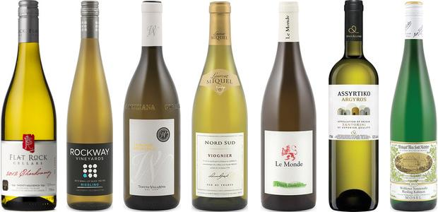 From left to right: Flat Rock Cellars Chardonnay 2012, Rockway Vineyards Small Lot Riesling Block 150 183 2013, Villanova Traminer Aromatico 2014, Laurent Miquel Nord Sud Viognier 2013, Le Monde Pinot Bianco 2013, Argyros Assyrtiko 2014 and Max Ferd. Richter Wehlener Sonnenuhr Riesling Kabinett 2013