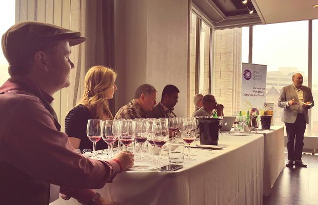 Moderator Chris Waters and the Gamay Masterclass panel: Jamie Drummond, Magdalena Kaiser, Martin Malivoire, Shiraz Mottiar, Bill Zacharkiw and Guillaume de Castelnau
