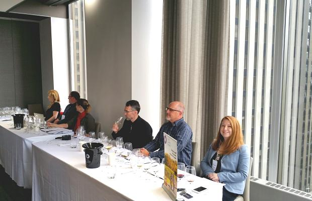 Moderator Sara d'Amato and the Terroir Masterclass panel: Magdalena Kaiser, Dr. Jim Willwerth, Emma Garner, Stuart Piggott and Dr. Kevin Pogue