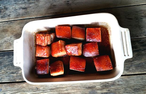 Roast Pork Belly, red wine, soy, cassia, star anise, sichuan peppercorn, clove, ginger, garlic