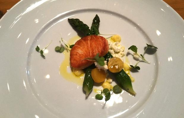 Ontario asparagus and hot smoked salmon
