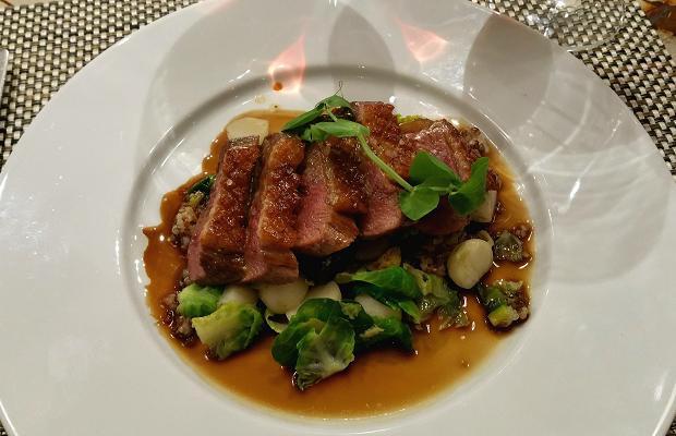 Treadwell's Wild Honey and Peppercorn Glazed Muscovy Duck Breast, quinoa salad, sea buckthorn vinaigrette