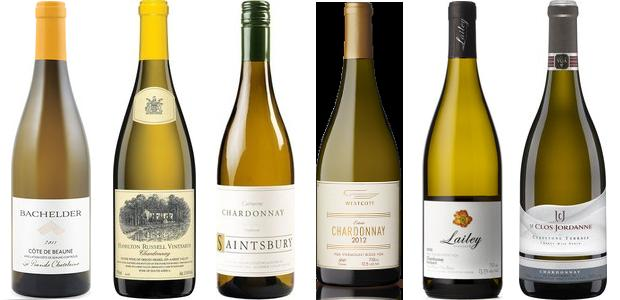 From left to right: Bachelder La Grande Châtelaine Côte De Beaune 2011, Hamilton Russell Chardonnay 2013, Saintsbury Chardonnay 2012, Westcott Vineyards Estate Chardonnay 2013, Lailey Barrel Select Chardonnay 2013 and Le Clos Jordanne Claystone Terrace Chardonnay 2012