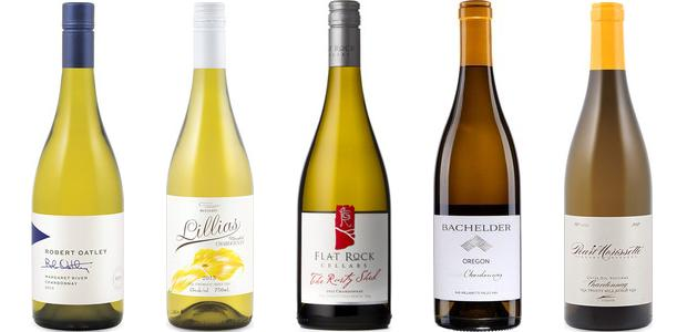 From left to right: Robert Oatley Signature Series Chardonnay 2013, Westcott Vineyards Lillias Unoaked Chardonnay 2013, Flat Rock The Rusty Shed Chardonnay 2012, Bachelder Oregon Chardonnay 2012 and Pearl Morissette Cuvée Dix Neuvieme Chardonnay 2012