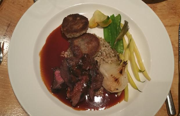 Le Caveau's Beef Two Ways, grilled AAA hanger steak, beef shank galette, seasonal vegetables, barley