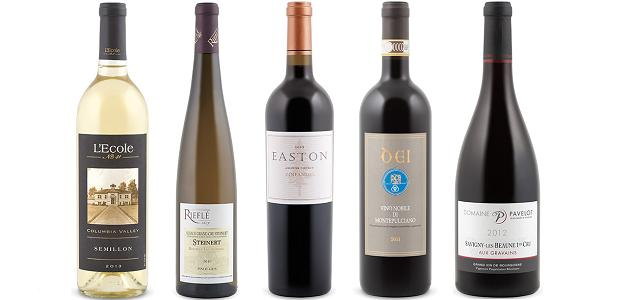 From left to right: L'école No 41 Semillon 2013, Rieflé Pinot Gris Steinert Grand Cru 2010, Dei Vino Nobile Di Montepulciano 2011, Easton Zinfandel 2012 and Domaine Pavelot Savigny Les Beaune Aux Grains 1er Cru 2012