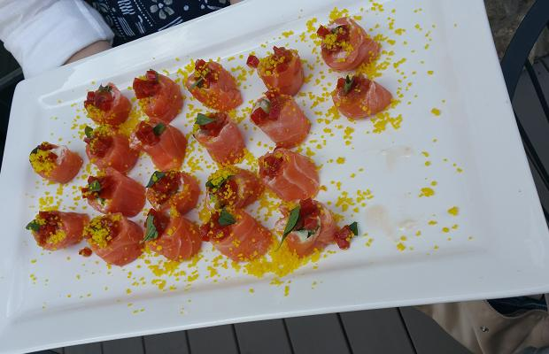 Fresh Salmon hors d'oeuvre by Lorenzo Loseto of George Restaurant, at Westcott Vineyards