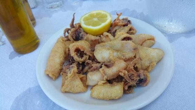 Fried Calamari, Pounta Beach, Patras