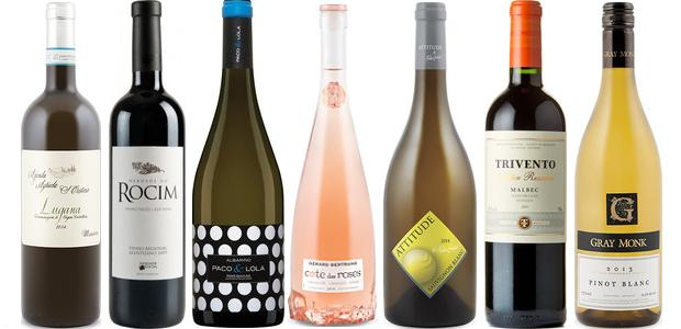 From left to right: Trivento Golden Reserve Malbec 2012, Pascal Jolivet Attitude Sauvignon Blanc 2014, Gérard Bertrand Côte Des Roses Rosé 2014, Paco & Lola Albariño 2013, Herdade Do Rocim Red 2011,S. Cristina Massoni Lugana 2014 and Gray Monk Pinot Blanc 2013