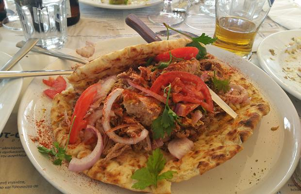 Pork Gyros at Nautiko Restaurant, Rio-Patras