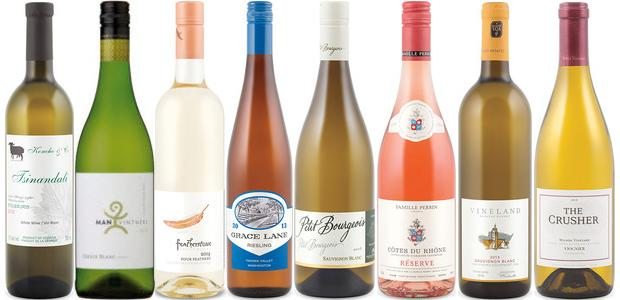 From left to right: Koncho and Co. Tsinandali 2012, Man Vintners Free Run Steen Chenin Blanc 2014, Featherstone Four Feathers 2014, Grace Lane Riesling 2013, Henri Bourgeois Petit Bourgeois Sauvignon Blanc 2014, Perrin Réserve Rosé 2014, Vineland Sauvignon Blanc 2013 and The Crusher Viognier 2013