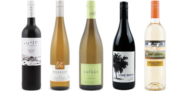 From left to right: Espelt Viticultors Old Vines Garnacha 2013, Rosewood Süssreserve Riesling 2014, Domaine Lafage Côté Est 2013, Lone Birch Syrah 2013 and The Foreign Affair Sauvignon Blanc Enchanted 2013