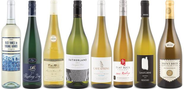 From left to right: Old Vines In Young Hands White 201, Dr. L Dry Riesling 2014, Domaine La Haute Févrie Sur Lie Muscadet Sèvre & Maine 2014, Thelema Sutherland Sauvignon Blanc 2013, Cave Spring Estate Bottled Chardonnay Musqué 2013, Flat Rock Riesling 2014, Boutari Santorini Assyrtiko 2014 and Bailly Lapierre Saint Bris Sauvignon Blanc 2014