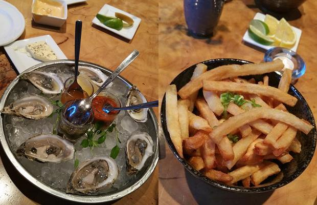 Oysters and Double Duck Fries at Le Caveau Restaurant, Domaine De Grand Pré Vineyards