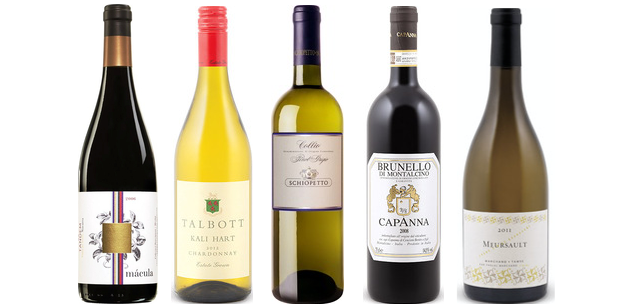 From left to right: Tandem Macula 2006, Talbott Kali Hart Chardonnay 2013, Schiopetto Pinot Grigio 2013, Capanna Brunello Di Montalcino 2009 and Paschal Marchand Meursault 2012