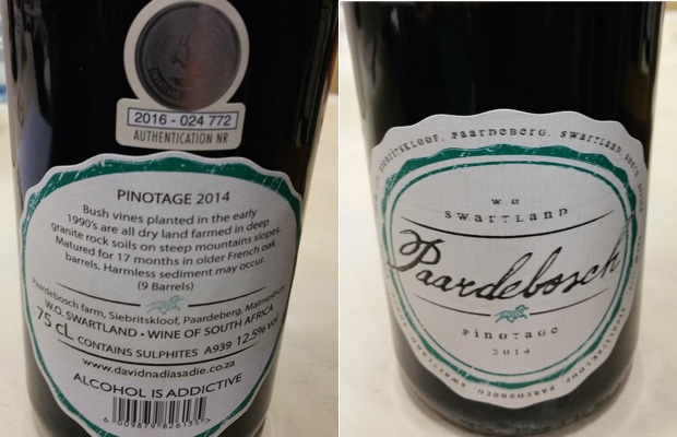 David and Nadia Sadie Wines Pardelbosch Pinotage 2014