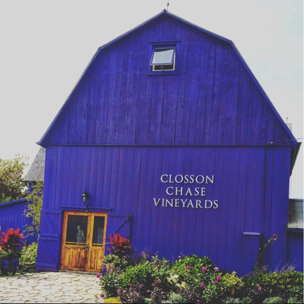 Quick crush of Le Clos '13 @ClossonChase Purple barn but Pinot all gone #chardonnay #pinotnoir #ccv #clossonchasewinery #clossonchasevineyard