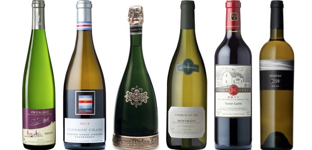 From left to right: J. Fritsch Riesling 2014, Closson Chase Chardonnay Closson Chase Vineyard 2013, Segura Viudas Brut Reserva Heredad Cava, La Chablisienne Montmains Chablis 1er Cru 2012, Hidden Bench Terroir Caché Meritage 2011 and Stratus White 2012