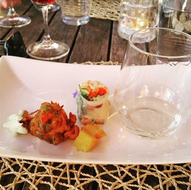 Pakora and Salad Roll Appetizer by Therese De Grace at The Good Earth Winery