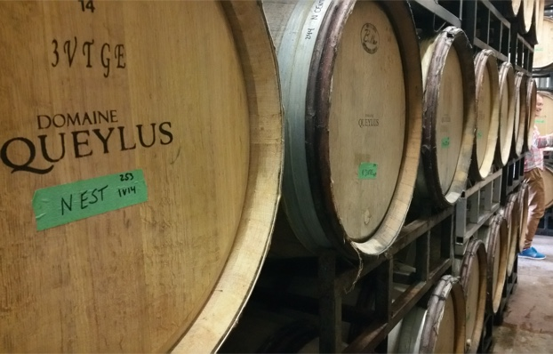 In the barrel cellar, Domaine Queylus