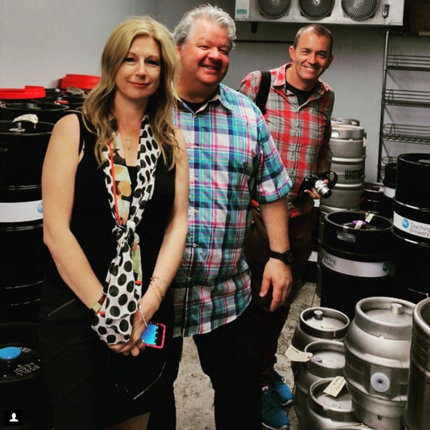Smiles with hops. Beer fridge @Niagara_College @mkaiserwine @chefmolson @drjamiegoode #niagarateachingbrewery #notwine #greatbeer