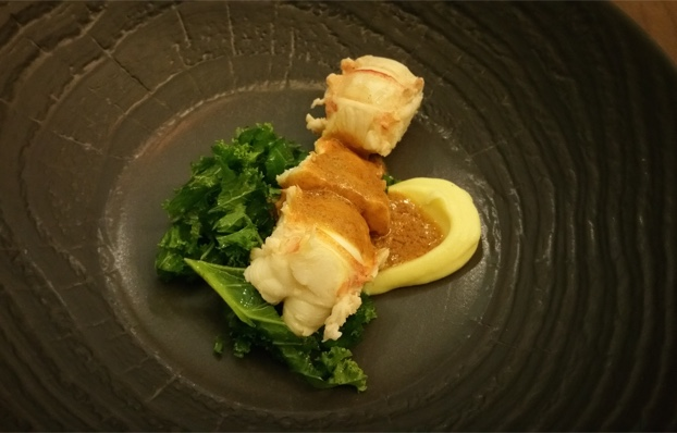 Lemon butter poached crayfish tail, kale, parsnip puree and bisque, Open Door, Constantia